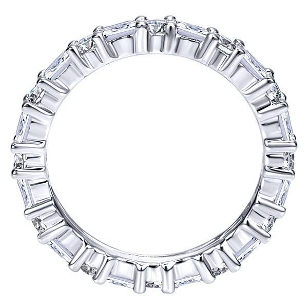 Gabriel & Co Alternating baguette and round diamond eternity band