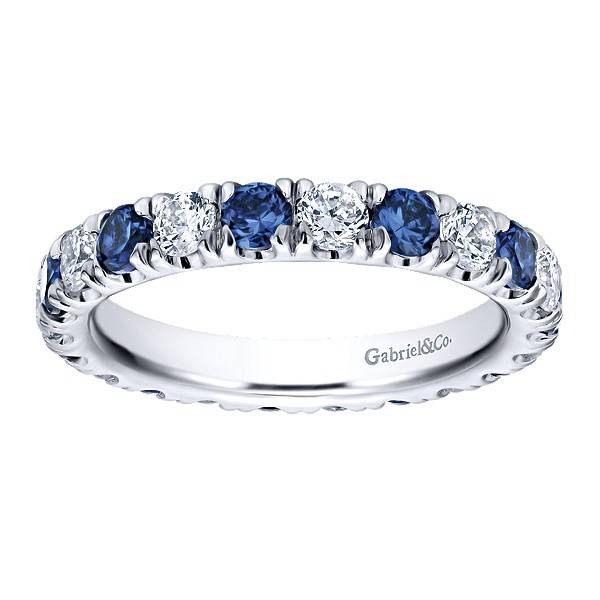 Gabriel & Co AN11360 alternating diamond sapphire band
