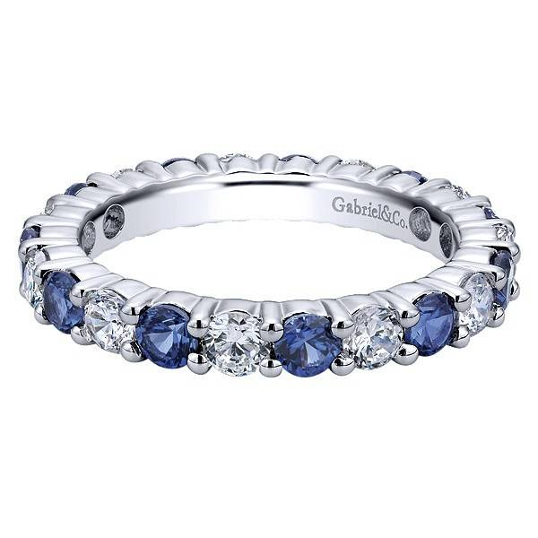 Gabriel & Co AN11340 alternating sapphire and diamond band