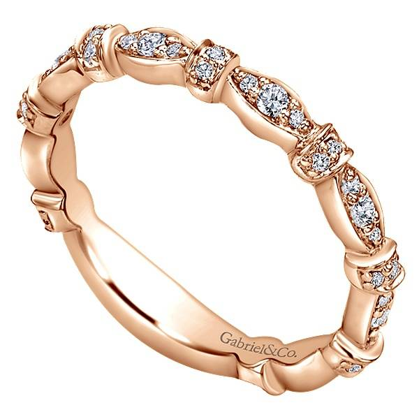 Gabriel & Co LR4579 rose gold  diamond stackable band