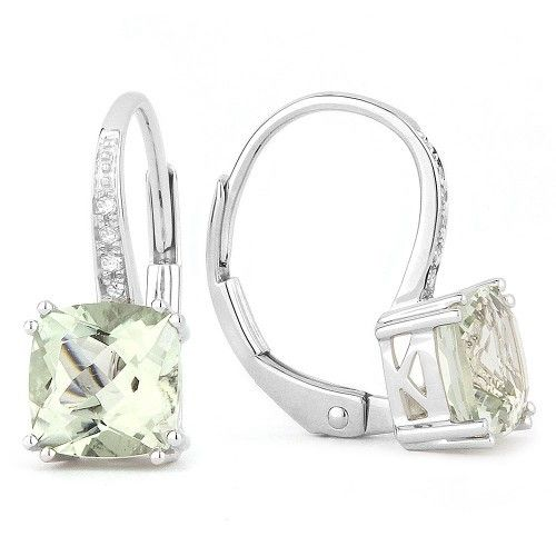E1033 Green Amethyst Drop earrings