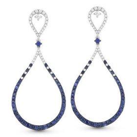 DE10920 sapphire and diamond drop earrings