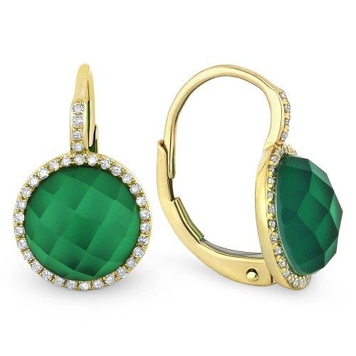 Madison L DE10573 green agate and white topaz earrings