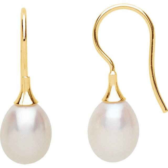 Stuller 67768 Yellow Gold Pearl Earrings