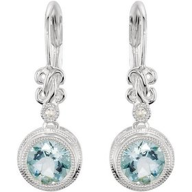 66278 Aquamarine drop earrings