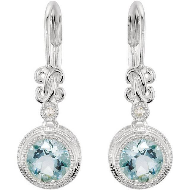 Stuller 66278 Aquamarine drop earrings