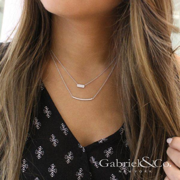 Gabriel & Co NK4273 White Gold Diamond Bar Necklace