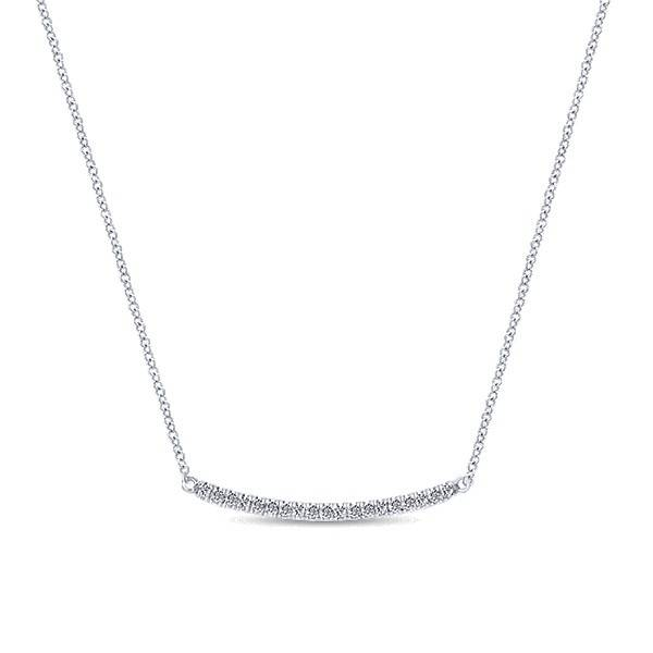 NK4273 White Gold Diamond Bar Necklace