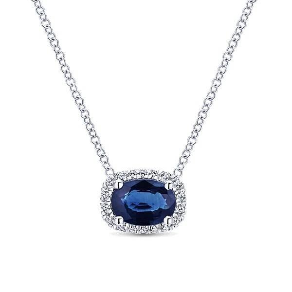 Gabriel & Co NK5309 sapphire and diamond necklace