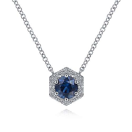 Gabriel & Co Sapphire & Diamond Hexagonal Halo Necklace