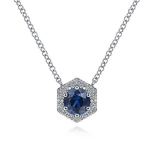 Sapphire & Diamond Hexagonal Halo Necklace