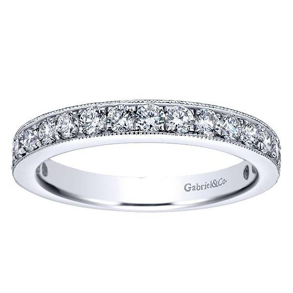 Gabriel & Co AN12078 milgrain beadset diamond band 0.75ct