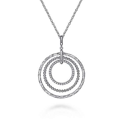 Gabriel & Co NK6896 Silver Triple Circle Necklace