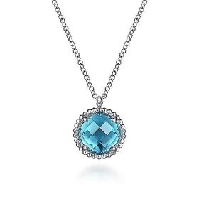 NK6897 Silver Blue Topaz Pendant Necklace