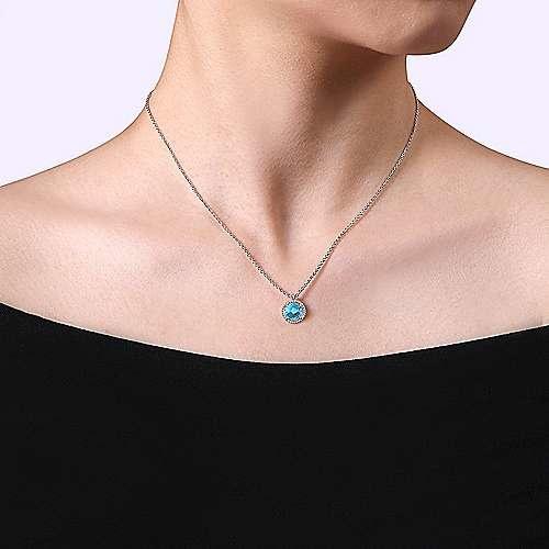 Gabriel & Co NK6897 Silver Blue Topaz Pendant Necklace