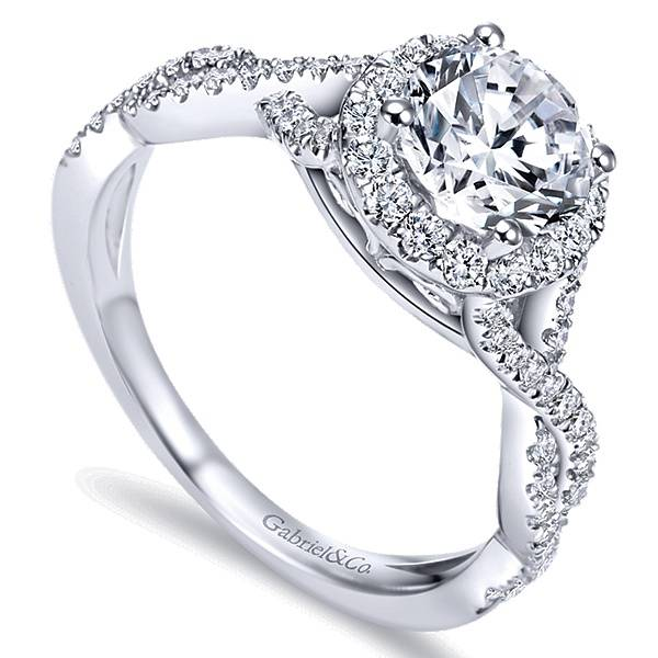 Gabriel & Co ER7543 criss cross halo engagement ring setting