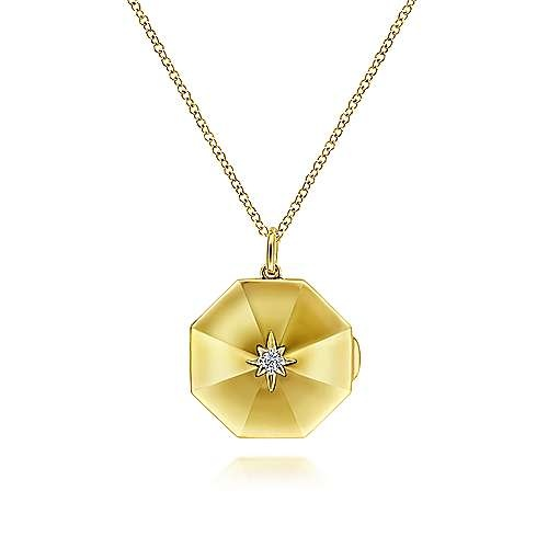 Gabriel & Co 14K Octagonal Locket Necklace with Diamond Star Center