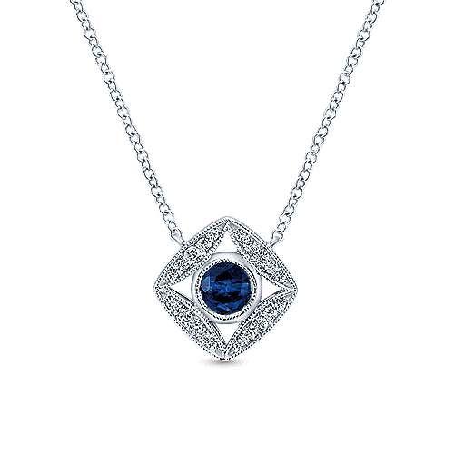 Gabriel & Co NK4473 Sapphire & Diamond Necklace
