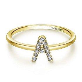 lr51164 Pave Diamond Initial Ring