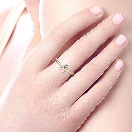Gabriel & Co lr51164 Pave Diamond Initial Ring