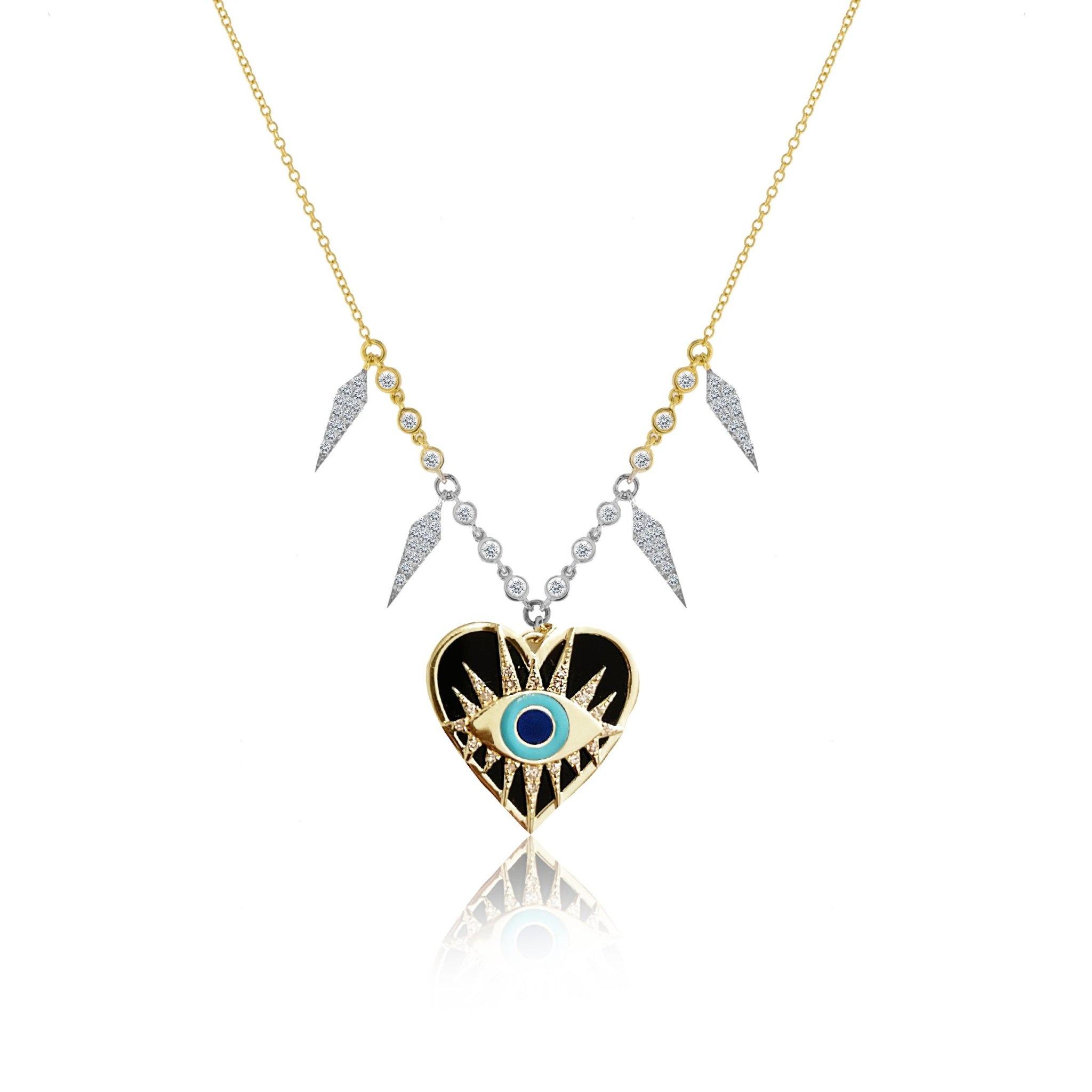 Meira T Enamel Evil Eye Heart Necklace