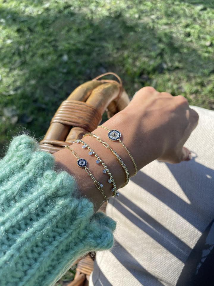 Meira T Evil Eye Paperclip Bracelet