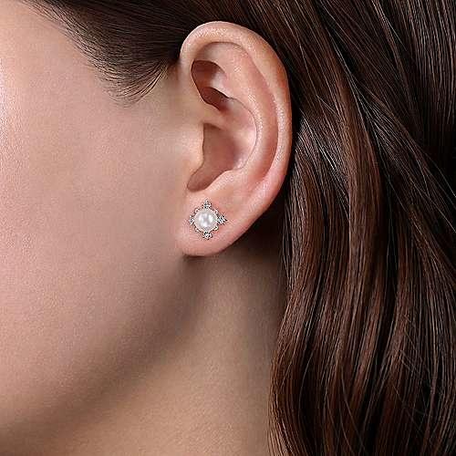 Gabriel & Co EG14045 Pearl & Diamond Earrings