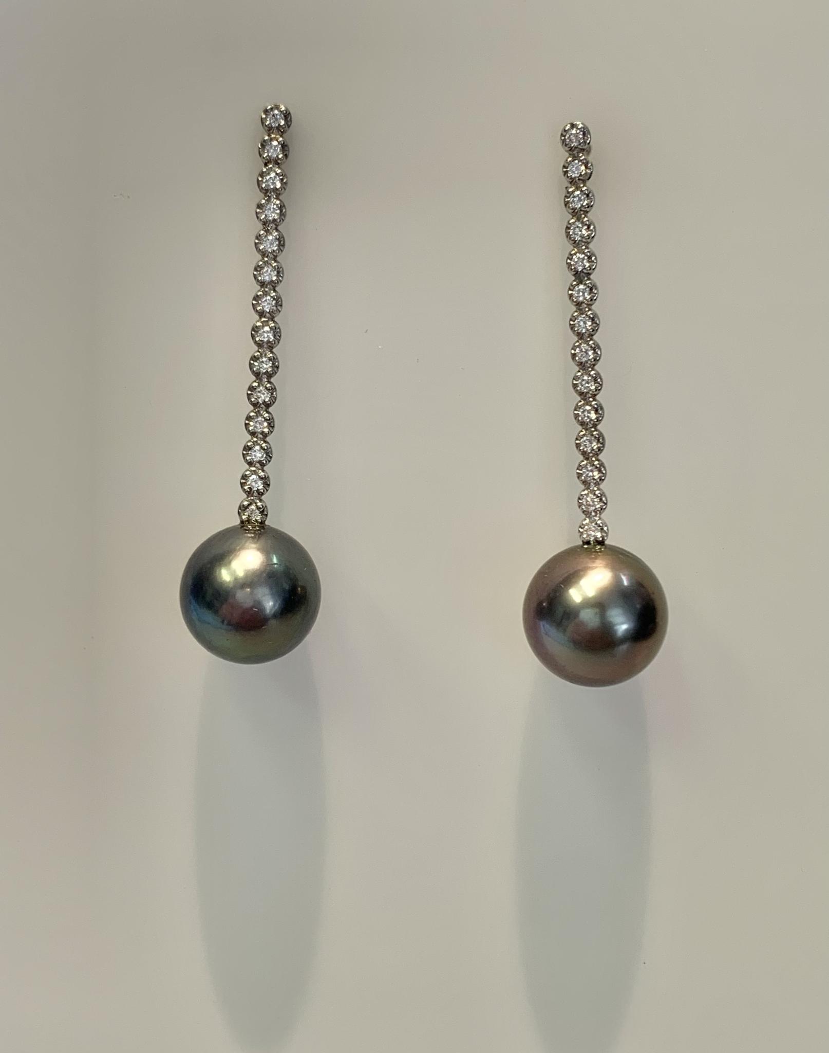 Freedman Tahitian Pearl and Diamond Drop Earrings