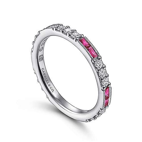 Gabriel & Co LR4572 Ruby and Diamond Stackable Band
