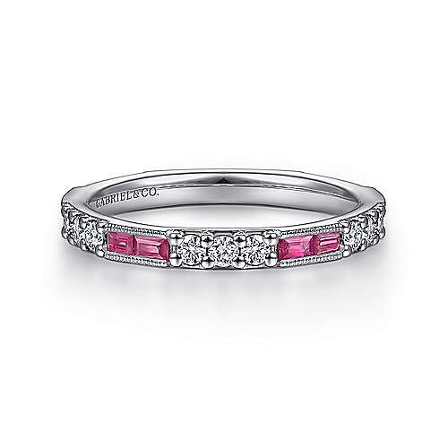 LR4572 Ruby and Diamond Stackable Band