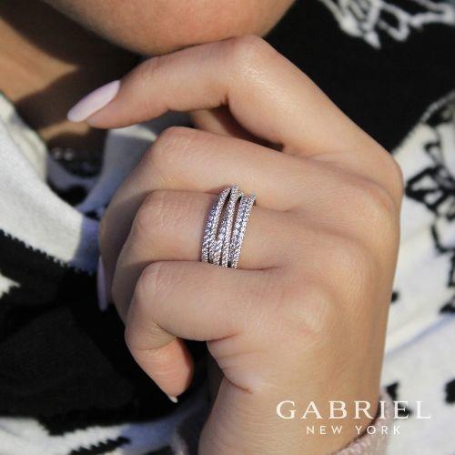Gabriel & Co LR50964 multi row diamond band