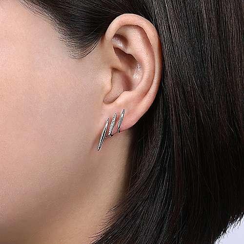 Gabriel & Co 14K White Gold Three Bar Diamond Stud Earrings