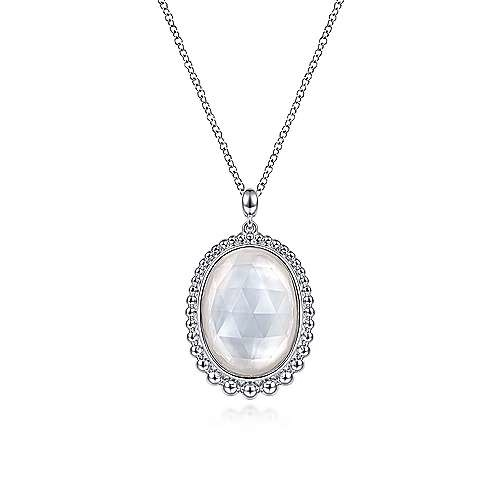 Sterling Silver Mother of Pearl & Rock Crystal Necklace