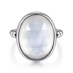 Sterling Silver Mother of Pearl & Rock Crystal Ring
