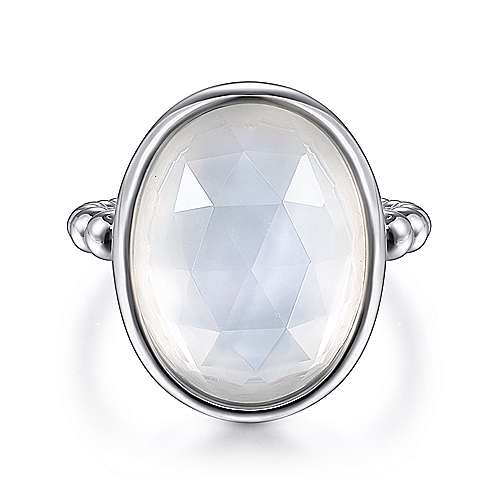 Gabriel & Co Sterling Silver Mother of Pearl & Rock Crystal Ring