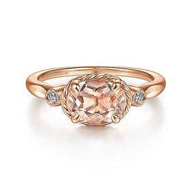 14kt Rose Gold Horizontal Morganite Ring