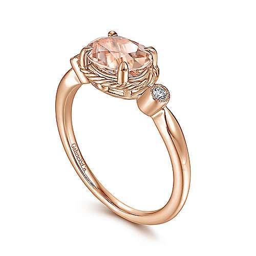 Gabriel & Co 14kt Rose Gold Horizontal Morganite Ring
