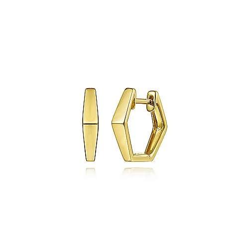 Gabriel & Co 14kt Yellow Gold Geometric Huggies