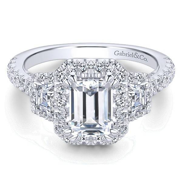 Gabriel & Co ER13443 3 Stone Emerald Cut Halo