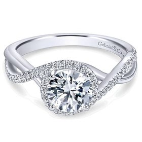 ER7804 Criss Cross Halo Engagement Ring