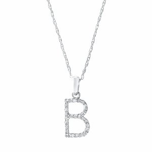 Sabrina CP457 White Gold Diamond Initial Necklace