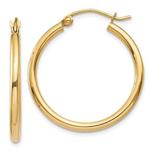 Q Gold T915L Yellow Gold Hoops