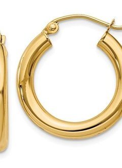 T938 3mm Yellow Gold Hoops
