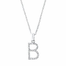 Sabrina CP457 Rose Gold Diamond Initial Necklace