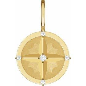 14kt Yellow Gold Diamond Compass Charm Pendant