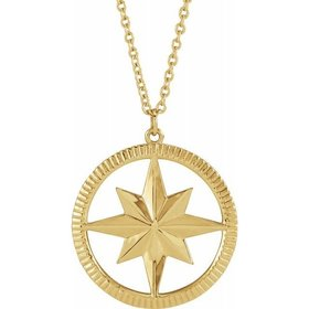87479 14kt Yellow Gold Compass Necklace