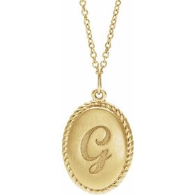 14kt Gold Engravable Oval Rope Pendant Necklace