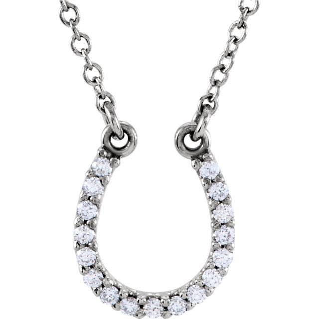 Platinum Diamond Horseshoe Necklace