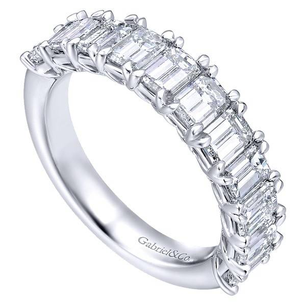 Gabriel & Co AN12383 emerald cut diamond band