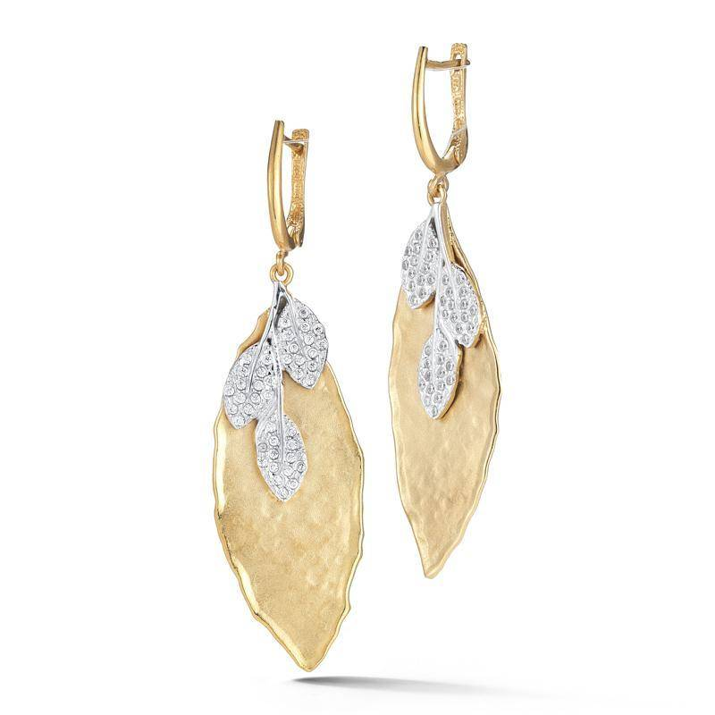 I Reiss Er3130y Leaf Diamond Earrings